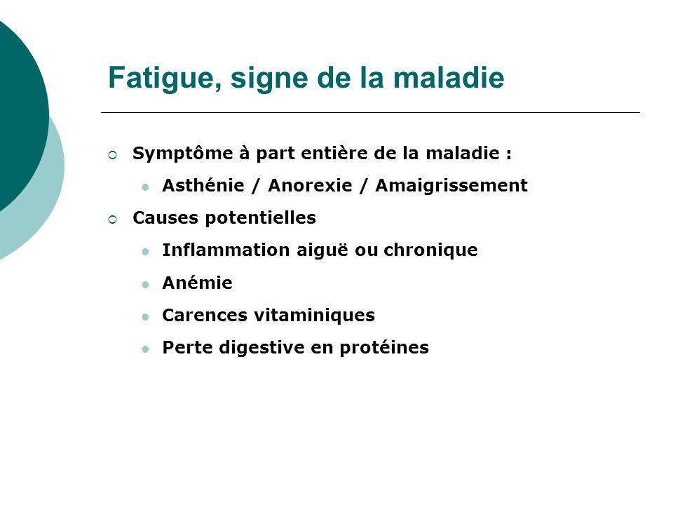 Fatigue, signe de la maladie Symptôme à part entière de la maladie : Asthénie / Anorexie / Amaigrissement Causes potentielles Inflammation aiguë ou ch