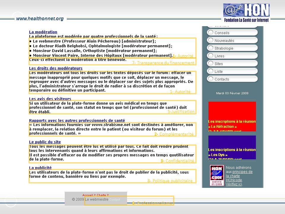 www.healthonnet.org 1- Autorité 7- Transparence du financement 1- Autorité 5-Justification 2- Complémentarité 3- Confidentialité 8- Politique publicitaire 6- Professionnalisme