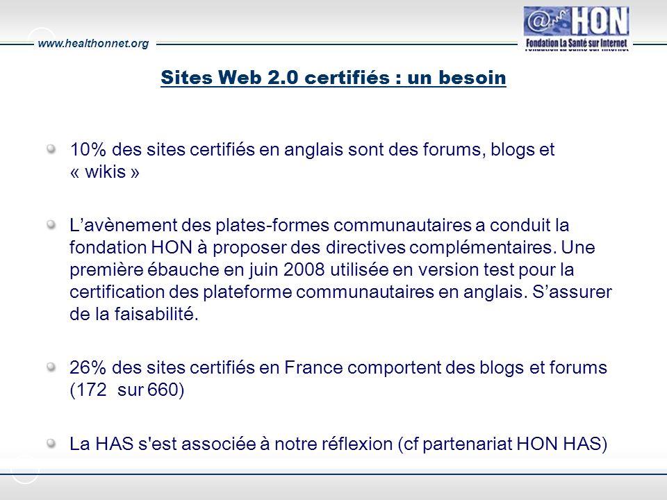 www.healthonnet.org Sites Web 2.0 certifiés : un besoin 10% des sites certifiés en anglais sont des forums, blogs et « wikis » Lavènement des plates-formes communautaires a conduit la fondation HON à proposer des directives complémentaires.
