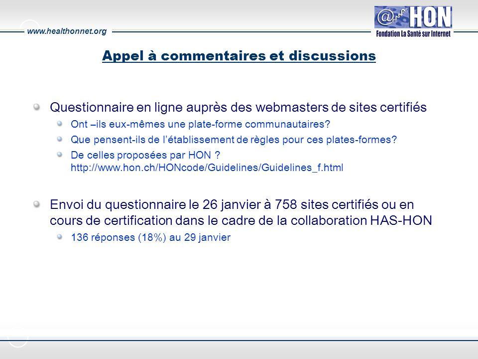 www.healthonnet.org Appel à commentaires et discussions Questionnaire en ligne auprès des webmasters de sites certifiés Ont –ils eux-mêmes une plate-forme communautaires.