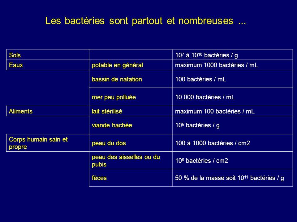 Sols 10 7 à 10 10 bactéries / g Eauxpotable en généralmaximum 1000 bactéries / mL bassin de natation100 bactéries / mL mer peu polluée10.000 bactéries