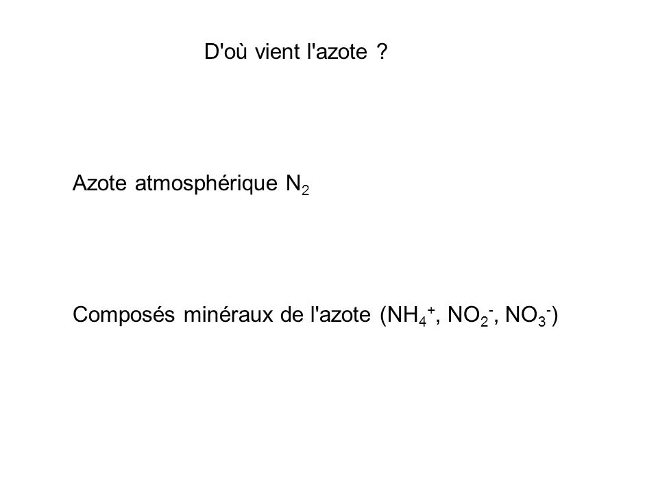 D'où vient l'azote ? Azote atmosphérique N 2 Composés minéraux de l'azote (NH 4 +, NO 2 -, NO 3 - )