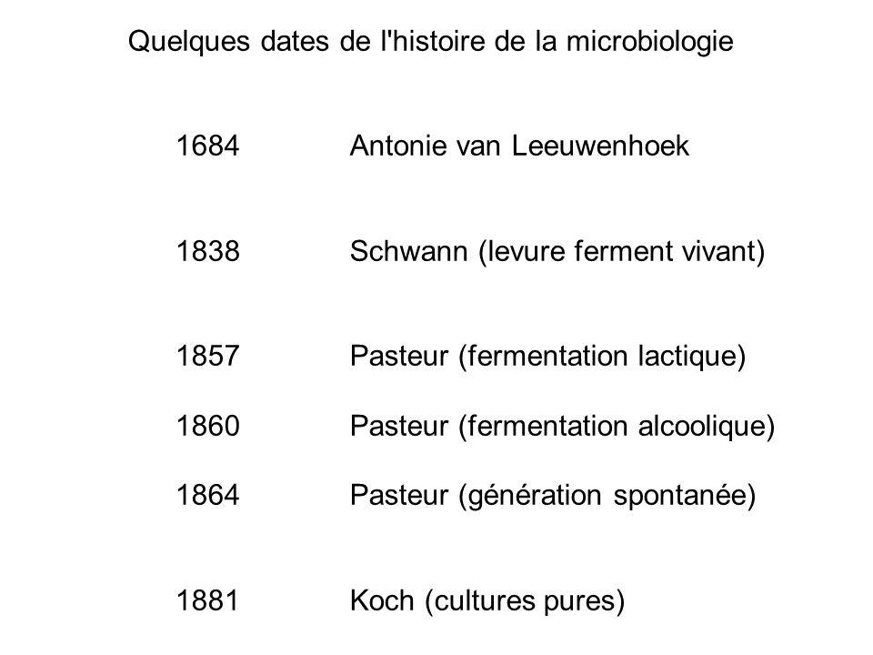 Quelques dates de l'histoire de la microbiologie 1684Antonie van Leeuwenhoek 1838Schwann (levure ferment vivant) 1857Pasteur (fermentation lactique) 1