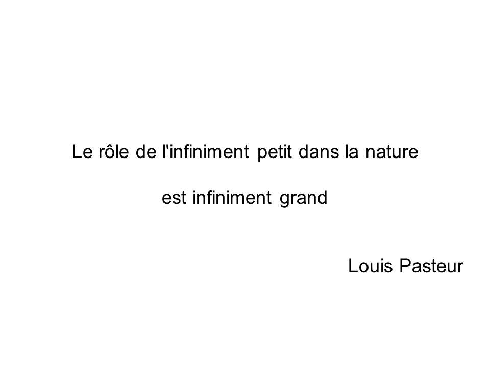 Le rôle de l'infiniment petit dans la nature est infiniment grand Louis Pasteur
