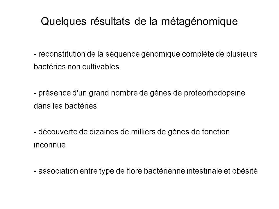 Quelques résultats de la métagénomique - reconstitution de la séquence génomique complète de plusieurs bactéries non cultivables - présence d'un grand