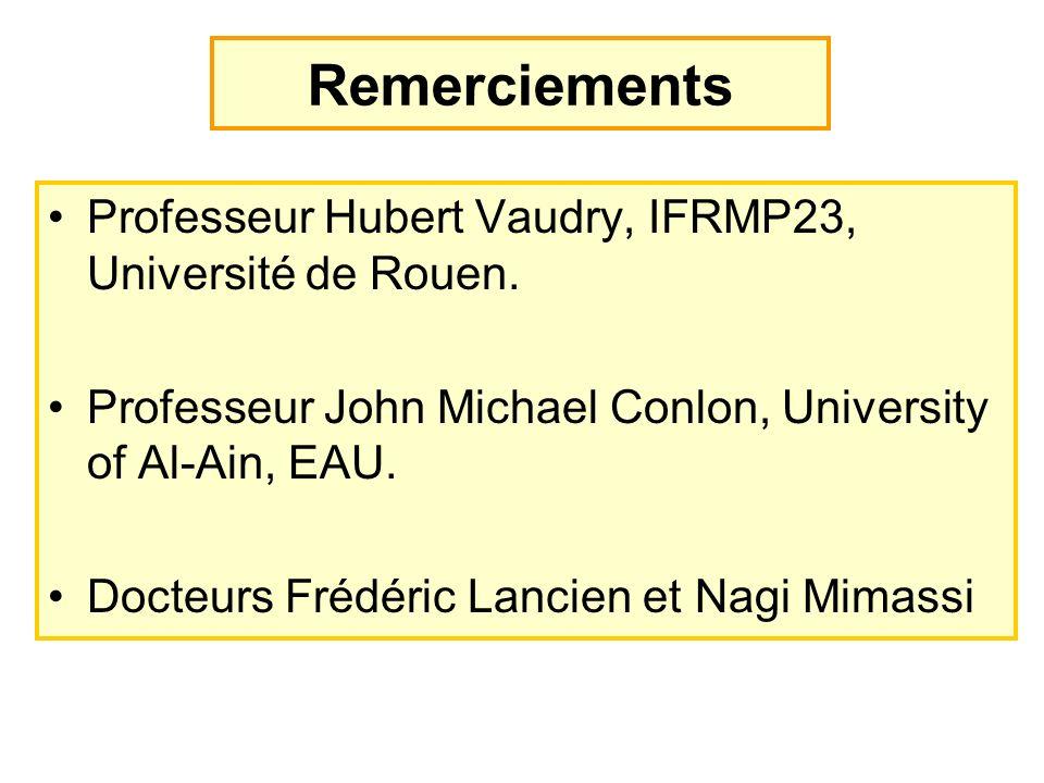 Remerciements Professeur Hubert Vaudry, IFRMP23, Université de Rouen. Professeur John Michael Conlon, University of Al-Ain, EAU. Docteurs Frédéric Lan