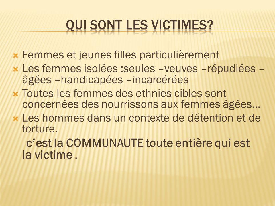 Femmes et jeunes filles particulièrement Les femmes isolées :seules –veuves –répudiées – âgées –handicapées –incarcérées Toutes les femmes des ethnies