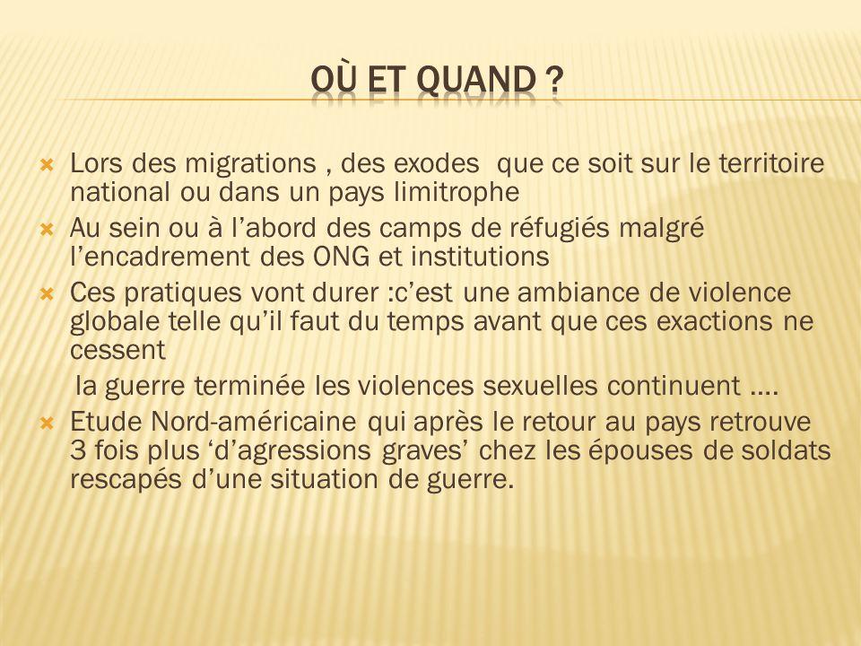 Lors des migrations, des exodes que ce soit sur le territoire national ou dans un pays limitrophe Au sein ou à labord des camps de réfugiés malgré len