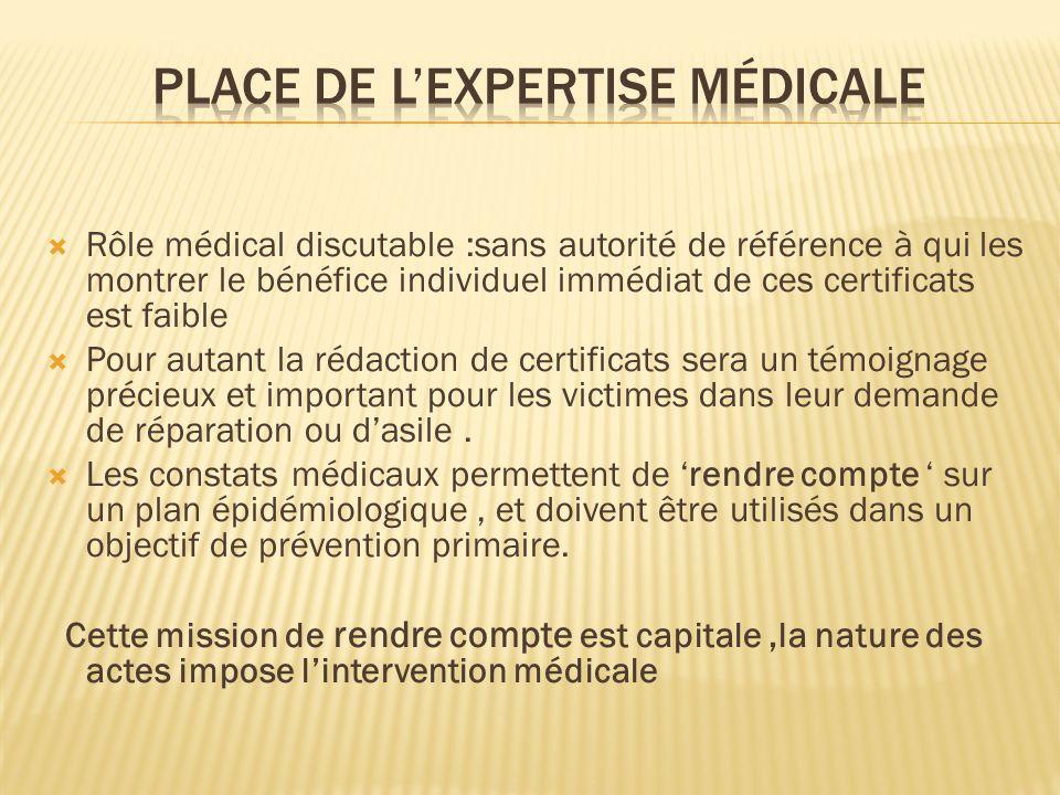 Rôle médical discutable :sans autorité de référence à qui les montrer le bénéfice individuel immédiat de ces certificats est faible Pour autant la réd