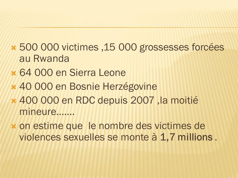 500 000 victimes,15 000 grossesses forcées au Rwanda 64 000 en Sierra Leone 40 000 en Bosnie Herzégovine 400 000 en RDC depuis 2007,la moitié mineure…