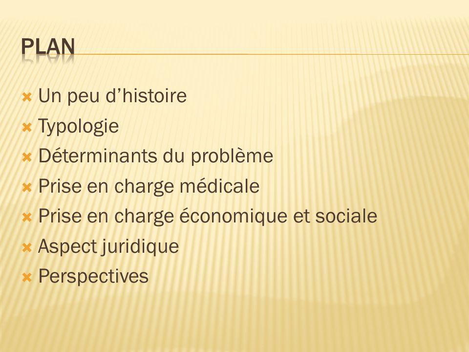 Un peu dhistoire Typologie Déterminants du problème Prise en charge médicale Prise en charge économique et sociale Aspect juridique Perspectives