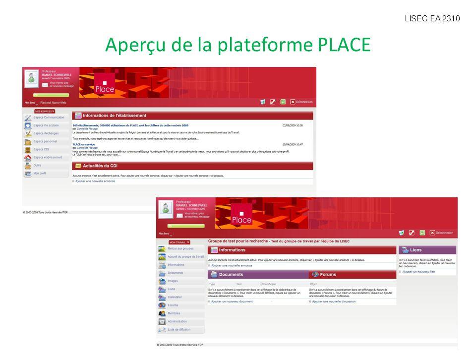 Aperçu de la plateforme PLACE LISEC EA 2310