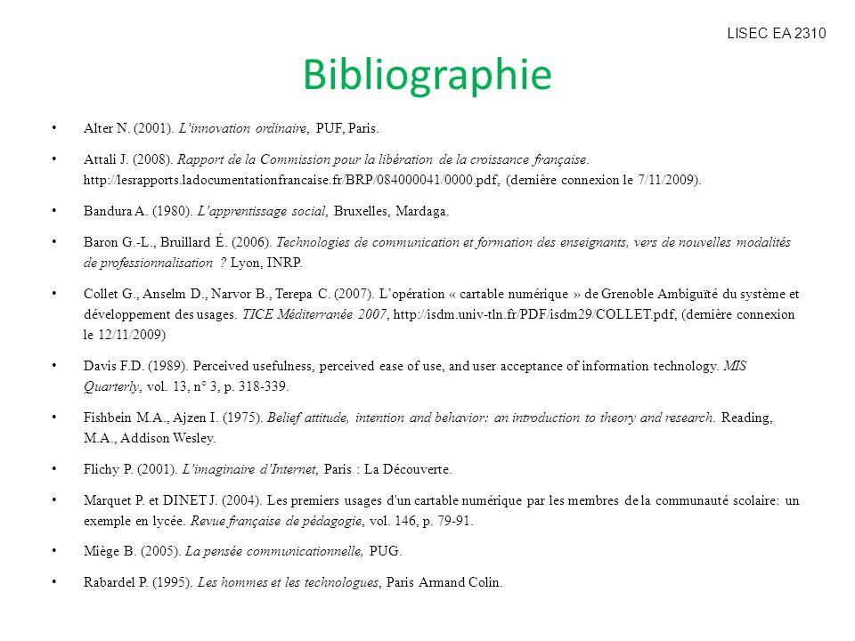 Bibliographie Alter N. (2001). Linnovation ordinaire, PUF, Paris. Attali J. (2008). Rapport de la Commission pour la libération de la croissance franç