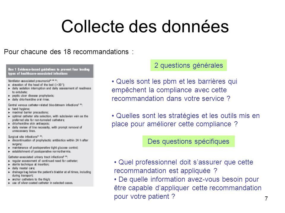7 2 questions générales Pour chacune des 18 recommandations : Des questions spécifiques Quels sont les pbm et les barrières qui empêchent la compliance avec cette recommandation dans votre service .