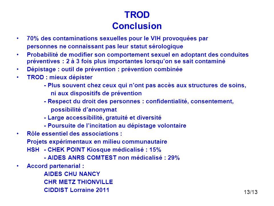 13/13 TROD Conclusion 70% des contaminations sexuelles pour le VIH provoquées par personnes ne connaissant pas leur statut sérologique Probabilité de