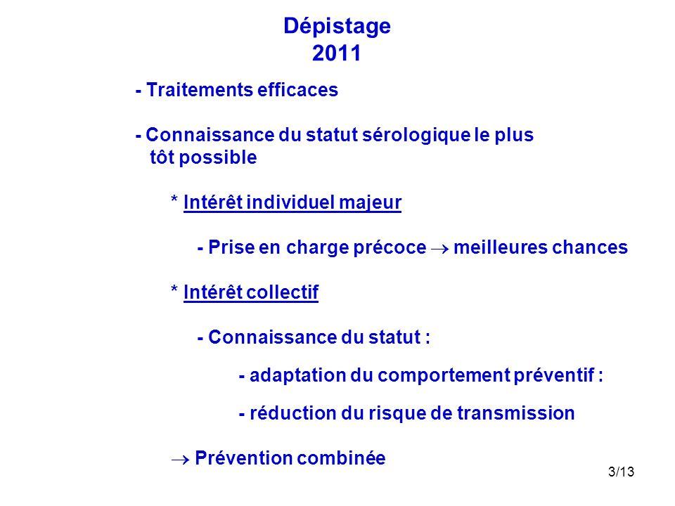 3/13 Dépistage 2011 - Traitements efficaces - Connaissance du statut sérologique le plus tôt possible * Intérêt individuel majeur - Prise en charge pr