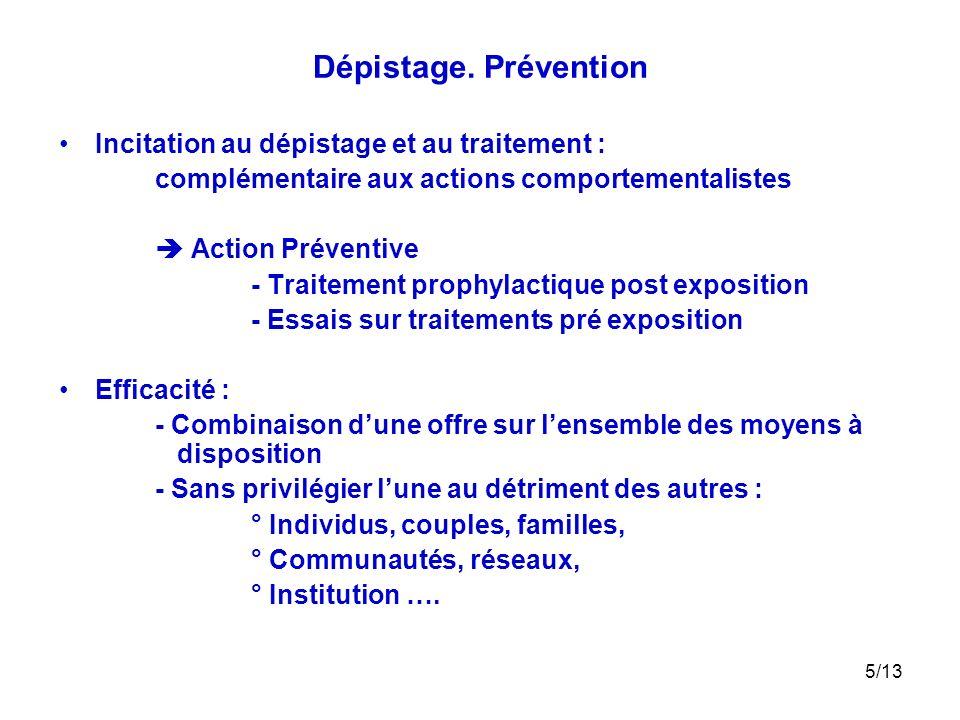 5/13 Dépistage. Prévention Incitation au dépistage et au traitement : complémentaire aux actions comportementalistes Action Préventive - Traitement pr