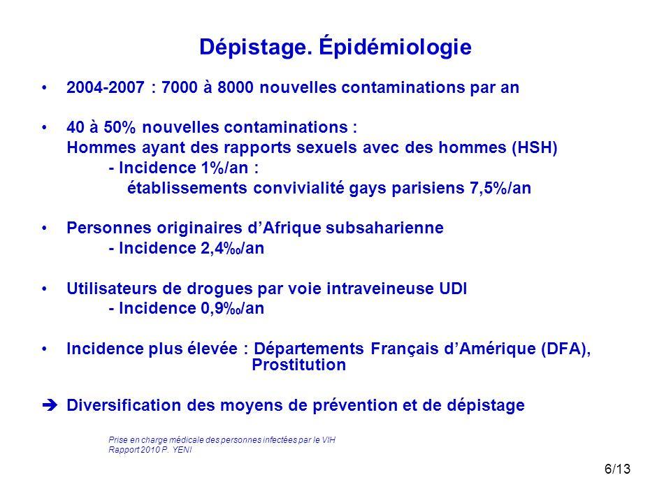 6/13 Dépistage. Épidémiologie 2004-2007 : 7000 à 8000 nouvelles contaminations par an 40 à 50% nouvelles contaminations : Hommes ayant des rapports se