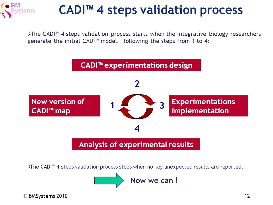 Systems BM © BMSystems 201012 CADI 4 steps validation process New version of CADI map Experimentations implementation CADI experimentations design Ana