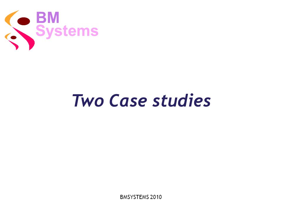 BMSYSTEMS 2010 Two Case studies Systems BM