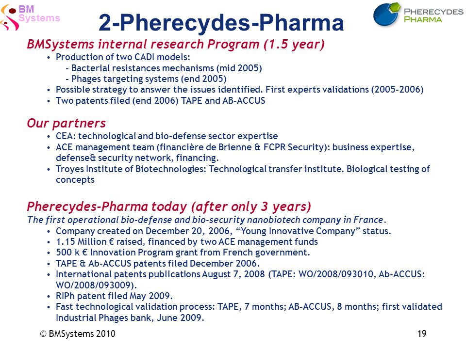 Systems BM © BMSystems 201019 2-Pherecydes-Pharma BMSystems internal research Program (1.5 year) Production of two CADI models: - Bacterial resistance