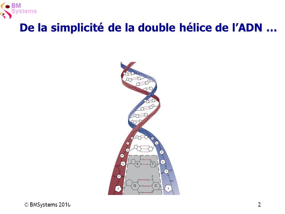 Systems BM © BMSystems 20102 De la simplicité de la double hélice de lADN …