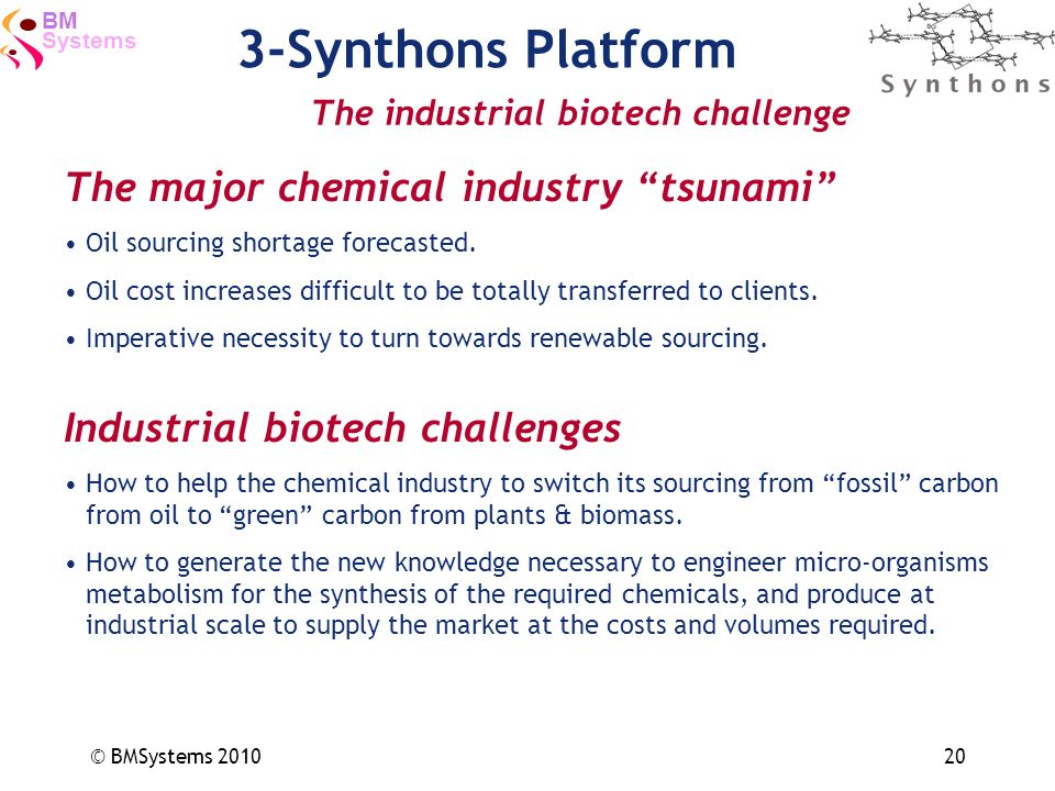 Systems BM © BMSystems 201020 3-Synthons Platform The industrial biotech challenge The major chemical industry tsunami Oil sourcing shortage forecaste