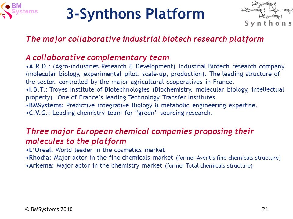 Systems BM © BMSystems 201021 3-Synthons Platform The major collaborative industrial biotech research platform A collaborative complementary team A.R.