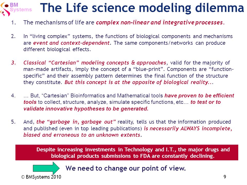 Systems BM © BMSystems 20109 The Life science modeling dilemma We need to change our point of view. 1.The mechanisms of life are complex non-linear an