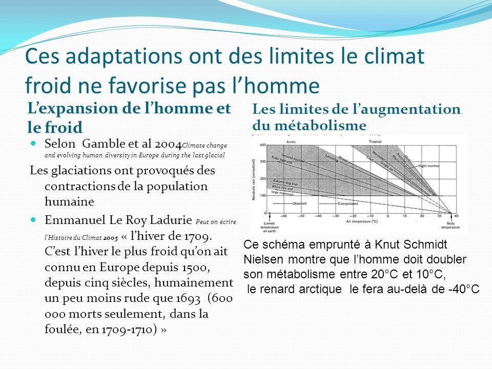 Ces adaptations ont des limites le climat froid ne favorise pas lhomme Lexpansion de lhomme et le froid Les limites de laugmentation du métabolisme Se