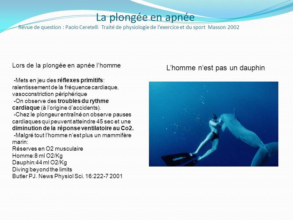La plongée en apnée Revue de question : Paolo Ceretelli Traité de physiologie de lexercice et du sport Masson 2002 Lors de la plongée en apnée lhomme