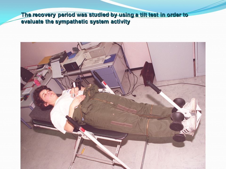 The recovery period was studied by using a tilt test in order to evaluate the sympathetic system activity