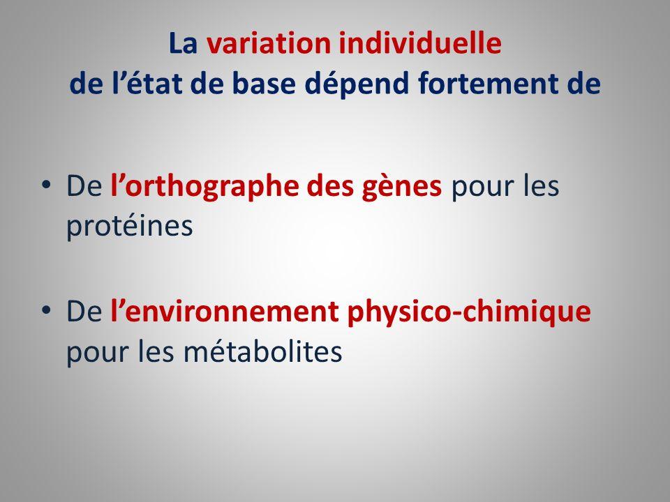 La variation individuelle de létat de base dépend fortement de De lorthographe des gènes pour les protéines De lenvironnement physico-chimique pour le