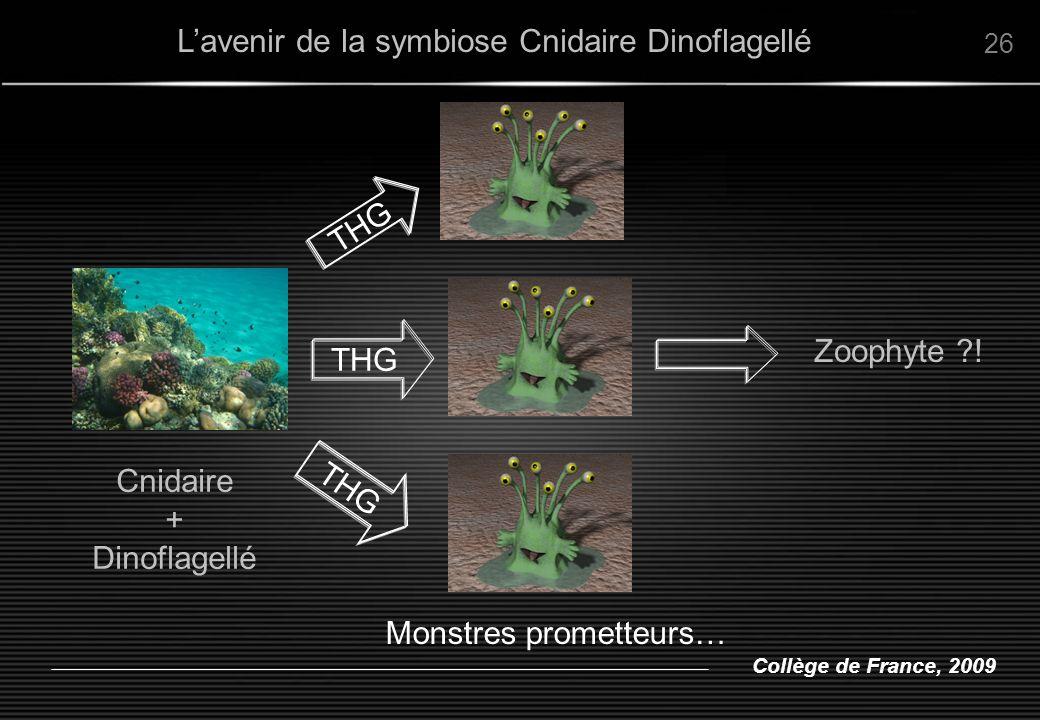 Collège de France, 2009 Lavenir de la symbiose Cnidaire Dinoflagellé 26 THG Zoophyte ?! Monstres prometteurs… Cnidaire + Dinoflagellé