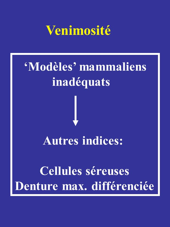 Xenodermatids Viperids Pareatids Psammophiines Elapids Homalopsids Colubrids Atractaspidines Natricids Dipsadids Lamprophiines S S : Cellules séreuses supralabiales D : Denture maxillaire différenciée Protéroglyphe Absence A.V.P.A.