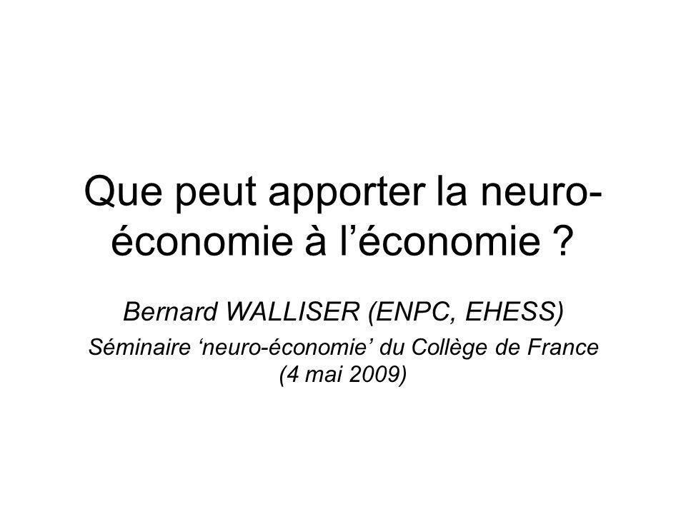 Introduction ¤ neuro-économie = analyse des mécanismes cérébraux qui sous-tendent les décisions économiques version étroite de la décision par rapport aux sciences cognitives (cf.