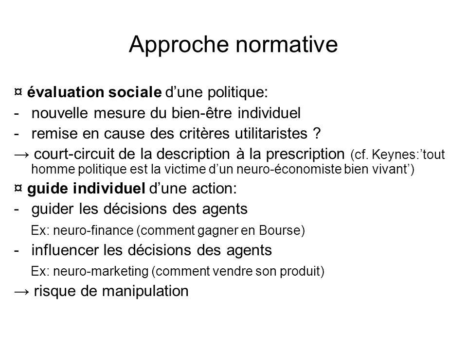 Approche normative ¤ évaluation sociale dune politique: -nouvelle mesure du bien-être individuel -remise en cause des critères utilitaristes .