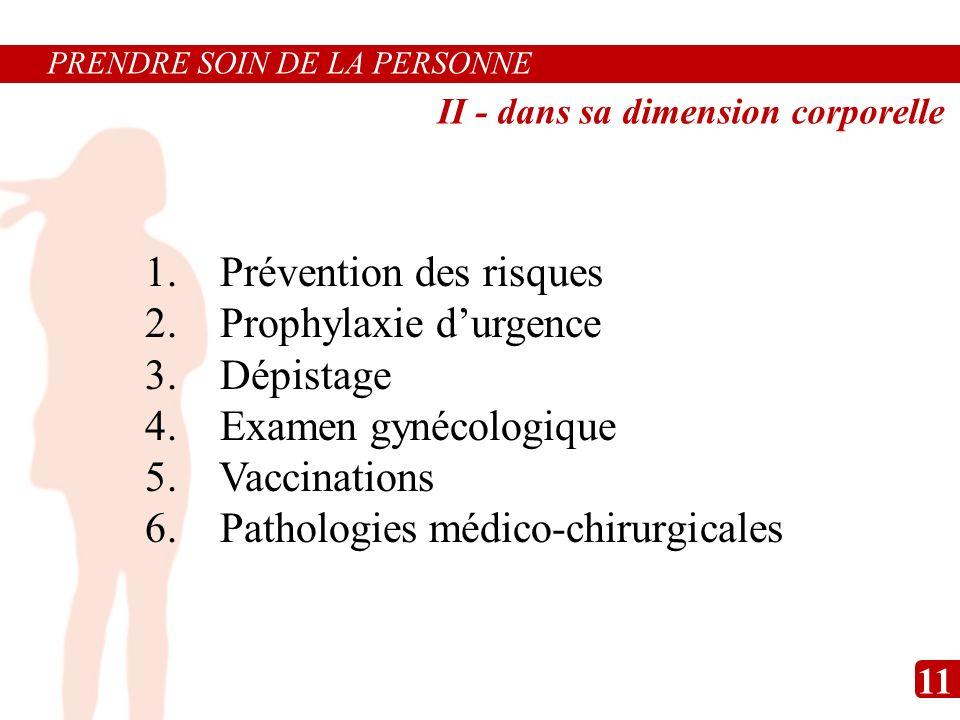 1. Prévention des risques 2. Prophylaxie durgence 3. Dépistage 4. Examen gynécologique 5. Vaccinations 6. Pathologies médico-chirurgicales PRENDRE SOI