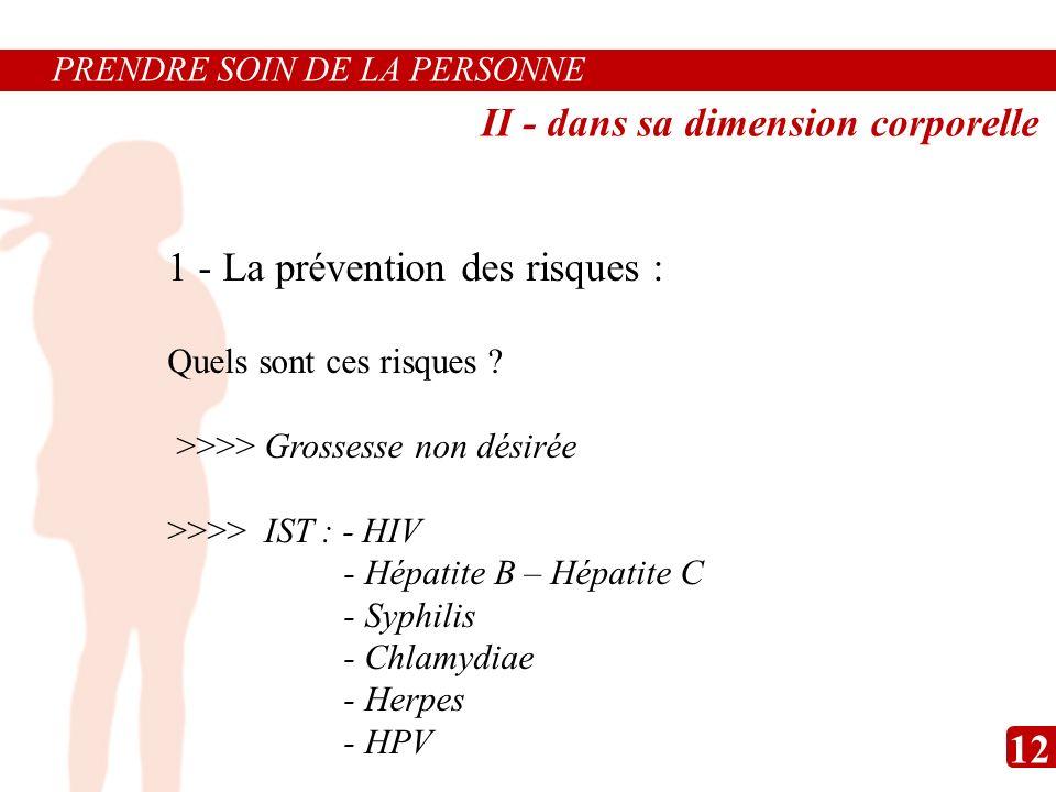1 - La prévention des risques : Quels sont ces risques ? >>>> Grossesse non désirée >>>> IST : - HIV - Hépatite B – Hépatite C - Syphilis - Chlamydiae