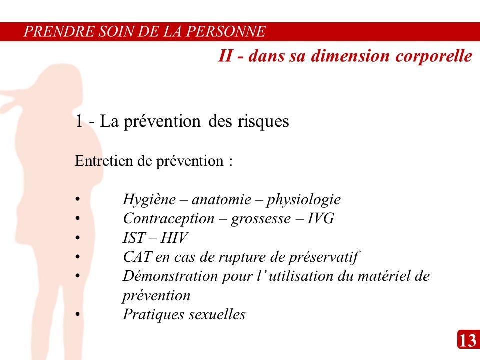 1 - La prévention des risques Entretien de prévention : Hygiène – anatomie – physiologie Contraception – grossesse – IVG IST – HIV CAT en cas de ruptu