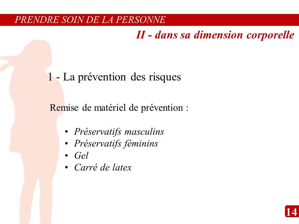 Remise de matériel de prévention : Préservatifs masculins Préservatifs féminins Gel Carré de latex 1 - La prévention des risques PRENDRE SOIN DE LA PE