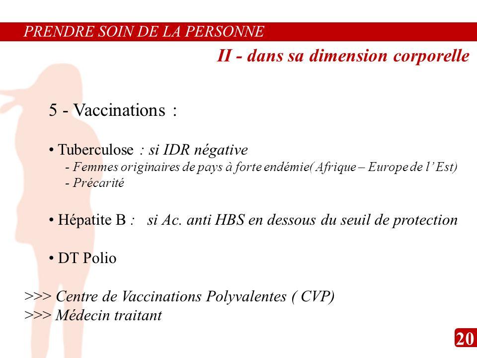5 - Vaccinations : Tuberculose : si IDR négative - Femmes originaires de pays à forte endémie( Afrique – Europe de l Est) - Précarité Hépatite B : si