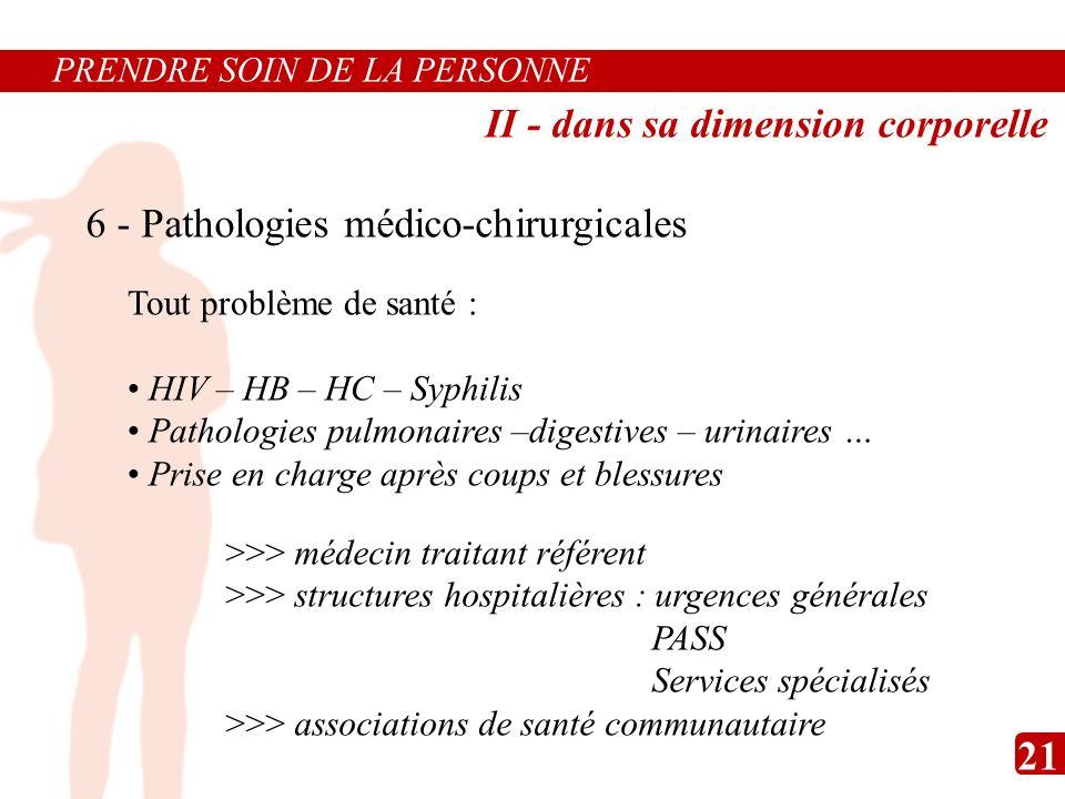 6 - Pathologies médico-chirurgicales Tout problème de santé : HIV – HB – HC – Syphilis Pathologies pulmonaires –digestives – urinaires … Prise en char