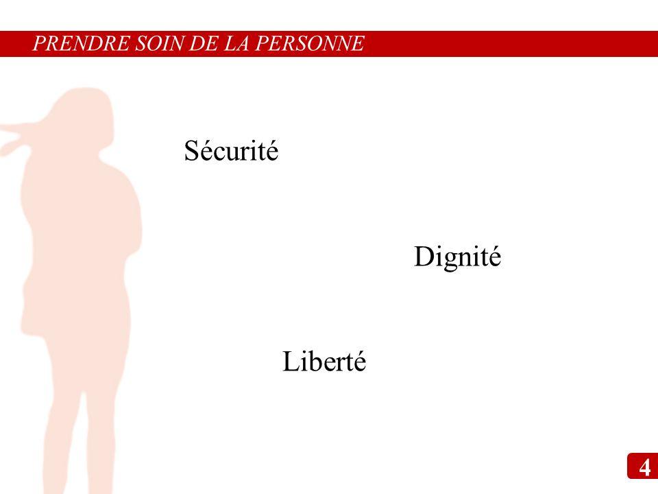 Sécurité Dignité Liberté PRENDRE SOIN DE LA PERSONNE 4