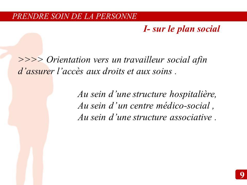 >>>> Orientation vers un travailleur social afin dassurer laccès aux droits et aux soins. Au sein dune structure hospitalière, Au sein d un centre méd