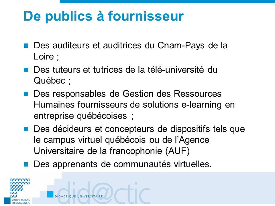 De publics à fournisseur Des auditeurs et auditrices du Cnam-Pays de la Loire ; Des tuteurs et tutrices de la télé-université du Québec ; Des responsa