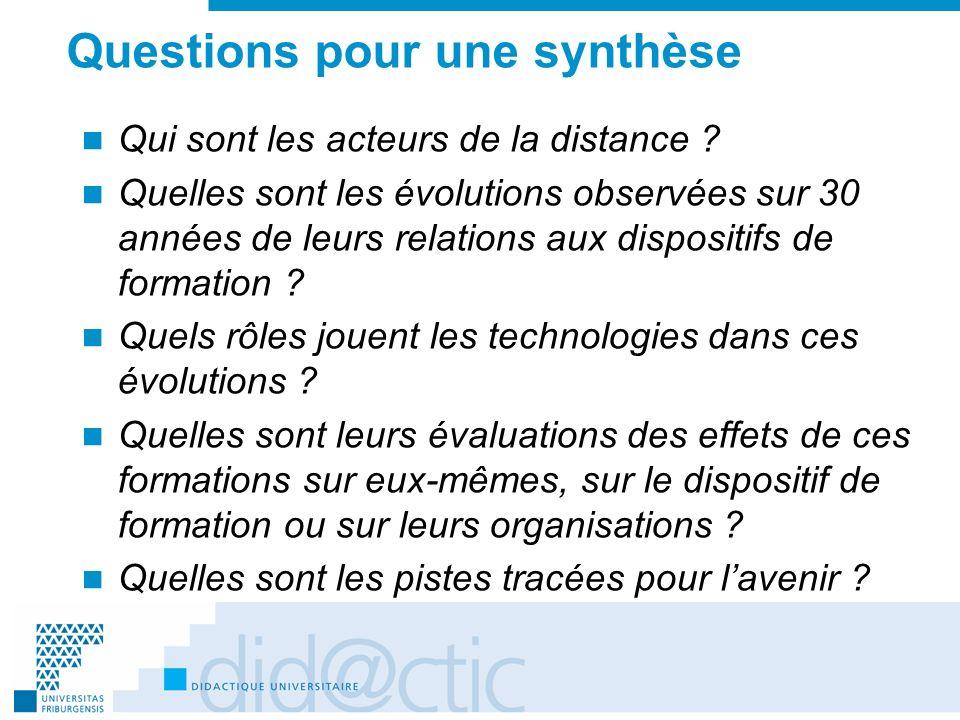 Questions pour une synthèse Qui sont les acteurs de la distance ? Quelles sont les évolutions observées sur 30 années de leurs relations aux dispositi