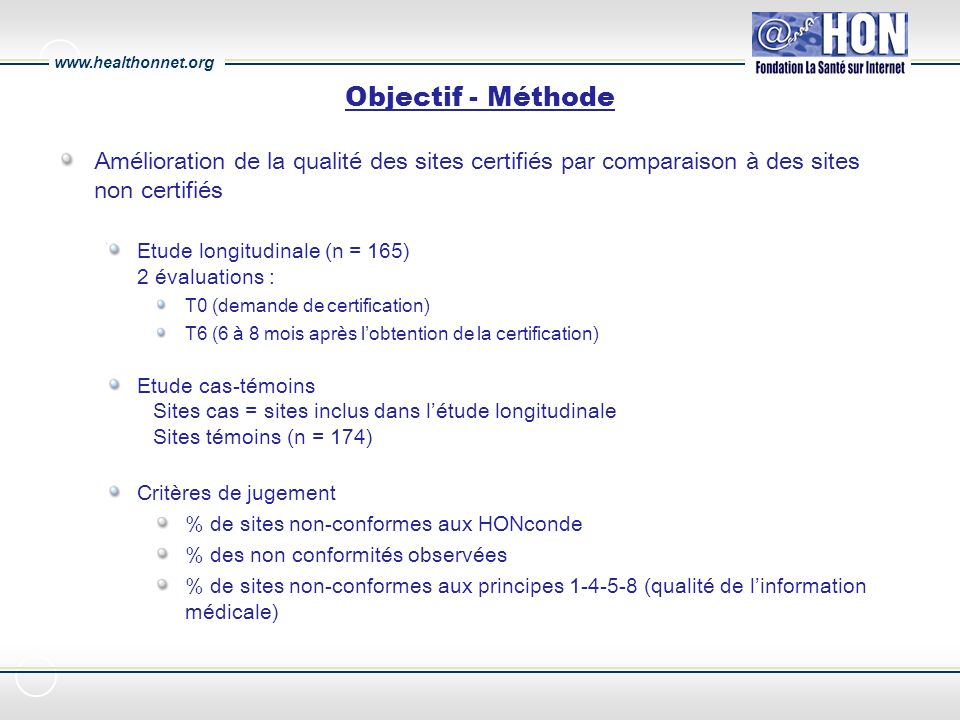 www.healthonnet.org Etude longitudinale Situation lors de la demande et avant dobtenir la certification T0 165 sites demandant la certification HONcode (cf.