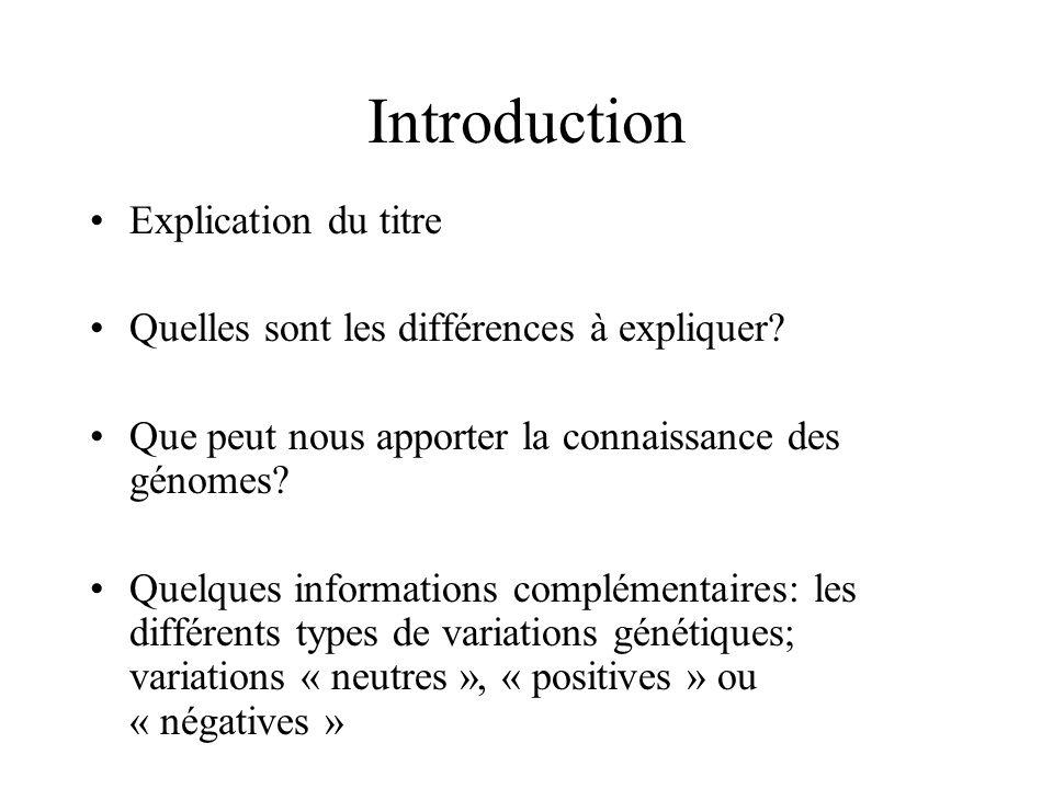 Introduction Explication du titre Quelles sont les différences à expliquer? Que peut nous apporter la connaissance des génomes? Quelques informations
