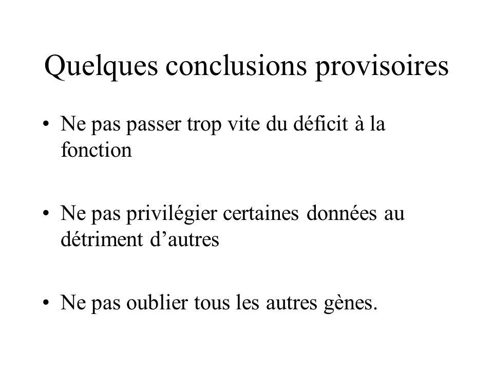 Quelques conclusions provisoires Ne pas passer trop vite du déficit à la fonction Ne pas privilégier certaines données au détriment dautres Ne pas oub